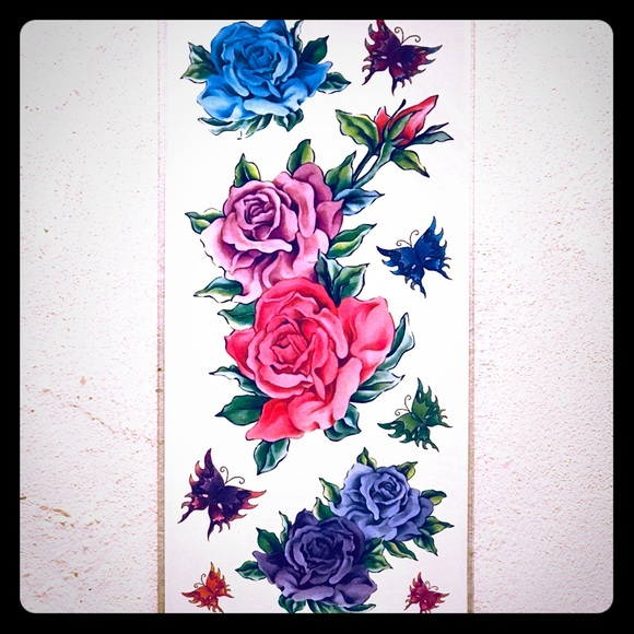 Other Temporary Pink Purple Blue Roses Butterfly Tattoos Poshmark